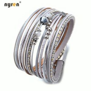 Leather Wrap Magnet Bracelet Beads Charms Bracelet Multi Color For Women 0786