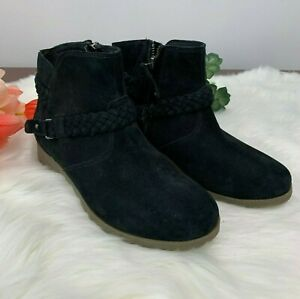 TEVA DELAVINA Black Leather Suede Ankle Boots shoes size 6 $58.99