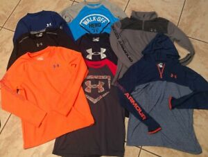 YLG Boys UNDER ARMOUR LS Shirts  14 Pullovers Ltweight  Hoodie {LOT X 8} LARGE