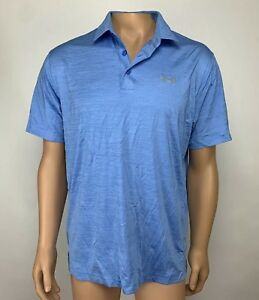 Under Armour Golf Heat Gear Polo Shirt Men's Size Large Blue Loose NWT