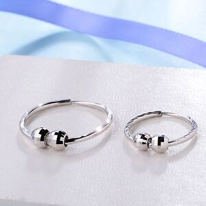 New Pure Platinum 950 Earrings Women Lucky Circle Bead Hoop Earring Big Size