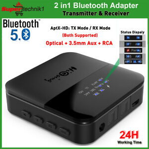 Bluetooth 5.0 Transmitter & Receiver Optical 3.5mm aptX HD Home TV Audio Adapter