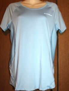 Brooks Woman PolyesterSpandex Light Blue Mesh Sides SS Running Shirt Top L