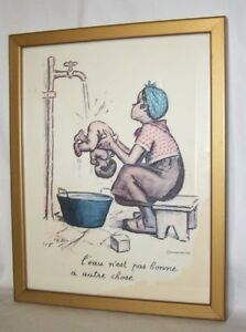 1930's Georges Redon Signed Lithograph Original Frame Black Americana Girl Baby $295.00