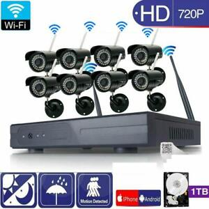 Wireless 8CH VGA NVR InOutdoor HD IR-CUT Wifi Camera Home Security System Video