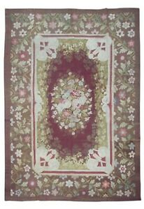 Antique 8X11 French Aubusson Area Rug Floral Design circa 1880 (8.3 x 10.8)