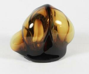 Vintage Mid Century Amber Free Form Hollow Blown Art Glass Sculpture Abstract $125.00