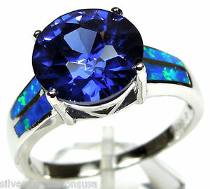 4.5 Ct Tanzanite & Blue Fire Opal Inlay 925 Sterling Silver Ring Size 6789