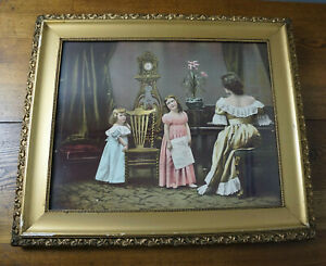 Antique Joseph Hoover and Sons Chromolithograph Circa 1900 THE YOUNG SINGER