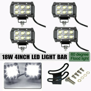 4x 18W Led Work Lights Pods Spot Offroad Lamp For ATV JEEP UTE 4