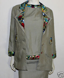 Chanel linen with tropical bird print 3 piece set outfit skirt jacket top