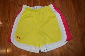 Girls UNDER ARMOUR Heat Gear Yellow Pink White Shorts Size YLG $9.99
