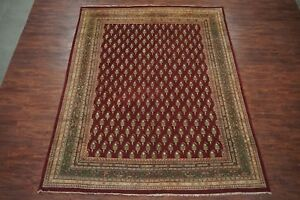 Antique 9X11 Agra Area Rug Hand-Knotted Burgundy Paisley Design (8.9 x 11.6)