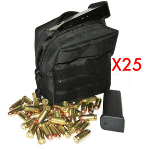 (25) .357 MAG AMMO MODULAR MOLLE UTILITY POUCH FRONT HOOK LOOP STRAP .357 357
