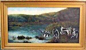 Ĺarge rare 19th American hunting scene river landscape Pointer dogs oil painting