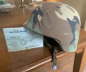 1985 US Army Military Ballistics Helmet W Camouflage Cover Sz Large PASGT SPP