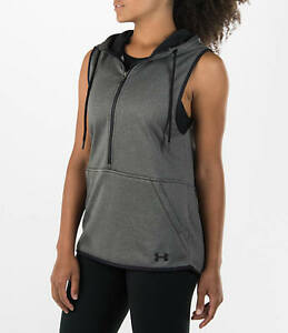 Womens Under Large Armour Favorite Lightweight Fleece Vest Carbon Heather Black $33.99