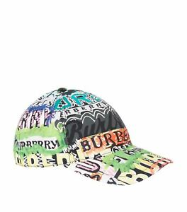 BRAND NEW BURBERRY FONTS ARCHIVE LOGO PRINT MULTICOLORED BASEBALL CAP ML HAT