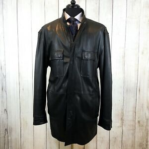 ERMENEGILDO ZEGNA SPORT Leather Jacket Car Coat Made in Italy XXL Damage
