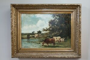 Antique Landscape With Cattle Watering Oil Signed Painting