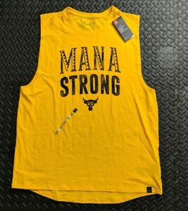 Under Armour Project Rock Mana Strong Yellow Tank top Sleeveless Mens 2XL loose