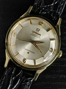 1961 SOLID 14K Omega PIE PAN Constellation (14900) SERVICED Ω551 vintage watch