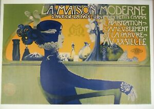 La Maison Moderne Vintage French Lithograph Poster The Blue Lady Manuel Orazi. $125.00