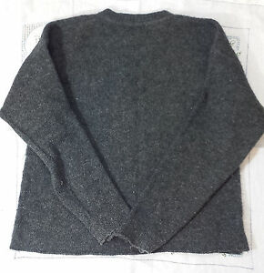 GREY Wool Nylon Blend CUTTER Sweater Upcycle AMERICAN PORTRAIT