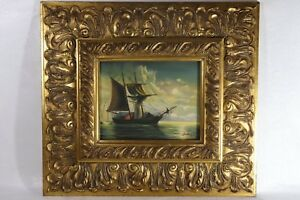 Signed Original Ship w Mountains Oil Canvas Painting - Albert Hess (1895-1960) $150.00