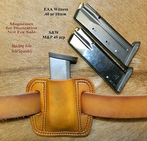 Leather MAG POUCH magazines, EAA 40 cal ,10mm also fits .45 Double Stack S