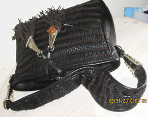 PEREZ SANZ DESIGNER BROW WOVEN LEATHER TASSEL HOBO SHOULDER BAG