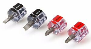 4 Piece Mini Stubby Screwdriver Set 2 Phillips 2 Slotted TEKTON 26391