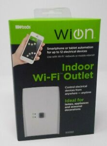 WiOn 50050 Indoor WiFi Outlet Plug Wireless Switch With 1 Grounded White