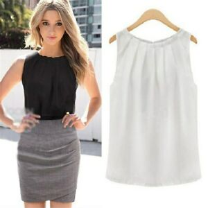 women blouses Tropical Sexy Fold Sleeveless Chiffon Ladies Blouses Casual Tops