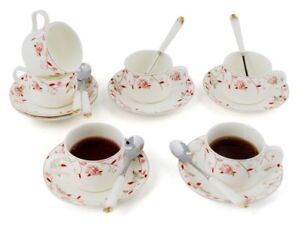 Kendal Porcelain Tea Cup,Saucer Coffee Cup Set with Saucer and Spoon Set Of 4
