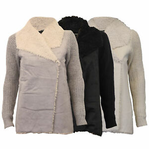ladies cable knitted cardigan suede look women sherpa collar Heart