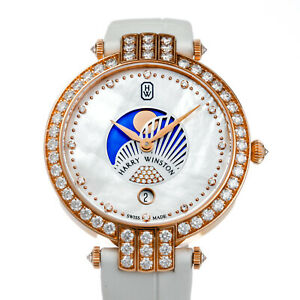 Harry Winston Premier Moon Phase 36mm Rose Gold Diamond Dress Watch PRNQMP36RR