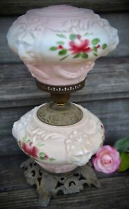 Vintage 1940s - 60s Hand Painted Roses GWTW Hurricane Lions Face Table Lamp
