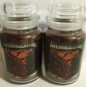 VILLAGE CANDLE BROWNIE DELIGHT CHOCOLATE WARM BROWN SOY WAX CANDLES 2 PIECE SET