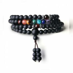 COAI 108 Mala Beads Matte Onyx 7 Chakra Bracelet Necklace for Men Women