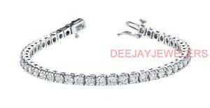 Natural 4ct Diamond Tennis Bracelet 14k White Gold Made in USA
