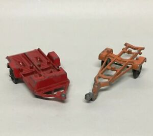 2 Vintage Tootsietoy Toy Boat amp; Motorcycle Trailers Chicago USA