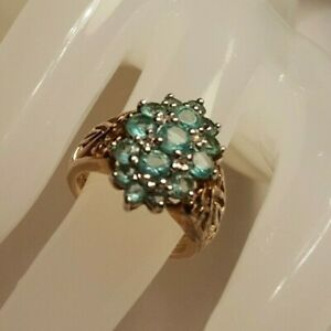 15-STONE BLUE TOPAZ Gold-Plated Sterling Silver Ring wORNATE BAND SIZE 4.75 GUC