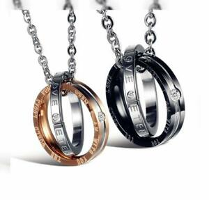 His & Hers Matching Set Titanium Stainless Steel Couple Pendant Necklace...