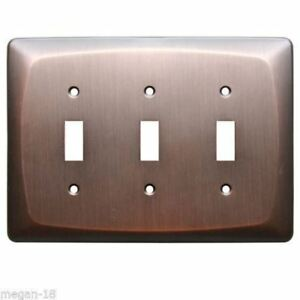 allen  roth 3-Gang Dark Oil-Rubbed Bronze Standard Toggle Metal Wall Plate
