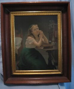 1870s Prang Chromolithograph The Maiden's Prayer in Period Fluted Frame 22 x 26 $465.00