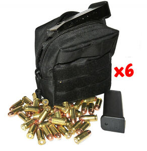 (6) .357 MAG AMMO MODULAR MOLLE UTILITY POUCH FRONT HOOK LOOP STRAP .357 357