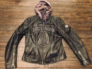 Harley Davidson Reflective Willie G Skull Leather Jacket Hoodie 3 in 1 Women's