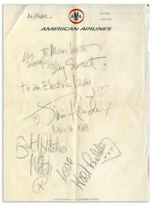 JIMI HENDRIX AUTOGRAPHS ON AIRLINE STATIONARY 16 NOV 1968 ..TO AN ELECTRIC LADY