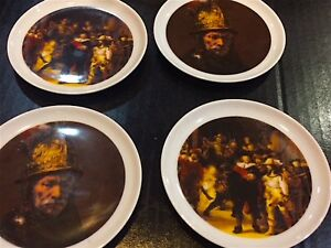 SET OF 4 BAREUTHER WALDASSAN BAVARIA GERMANY COASTERS W REMBRANDT PAINTINGS $12.50